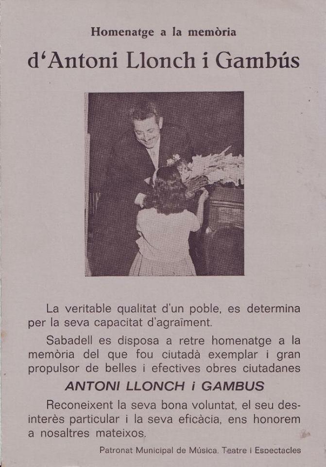 Programa teatro. Homenatge a la memòria d'Antoni Llonch i Gambús (Teatre Municipal Farandula. 1976)