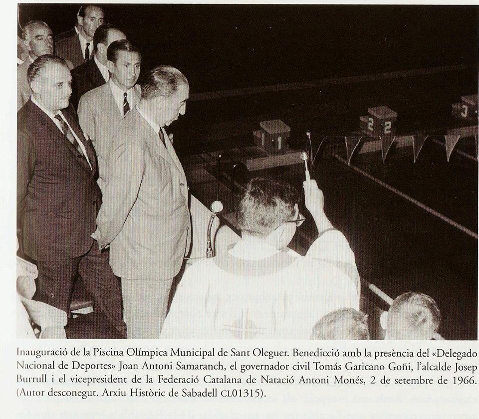 Inauguració de la piscina de Sant Oleguer 1966 Sabadell al segle XX Esteve Deu, JOrdi Calvet, Martí Marín Joaquim Sala-Sanahuja