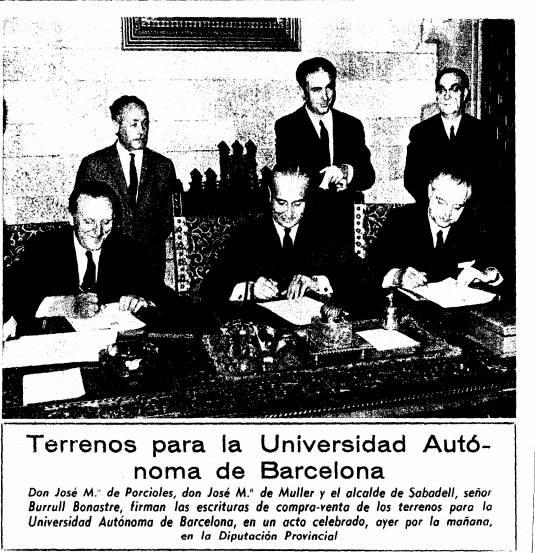 L'alcalda Burrull, Porciles, Muller, signan la compra-venta dels terrenys de la Universitat Autonoma el 27 de Febrer 1969